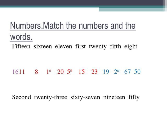 Numbers.Match the numbers and the words. Fifteen sixteen eleven first twenty...