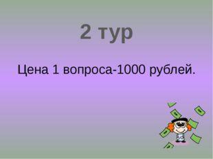 2 тур Цена 1 вопроса-1000 рублей.