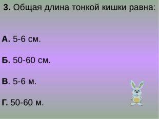 3. Общая длина тонкой кишки равна: А. 5-6 см. Б. 50-60 см. В. 5-6 м. Г. 50-60