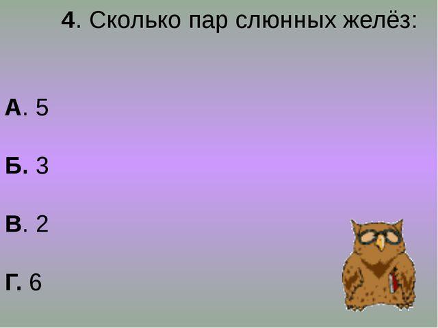 4. Сколько пар слюнных желёз: А. 5 Б. 3 В. 2 Г. 6