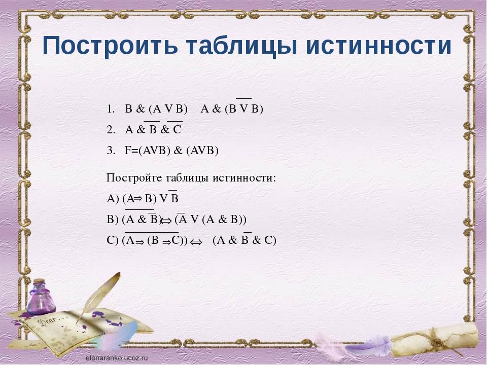 Построить таблицы истинности В & (А V В) А & (В V В) А & В & С F=(AVB) & (AVB...