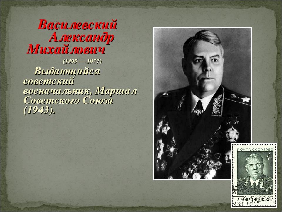 Василевский Александр Михайлович (1895 — 1977) Выдающийся советский военачаль...
