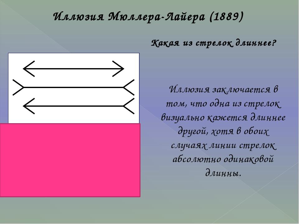 Иллюзия Мюллера-Лайера (1889) Иллюзия заключается в том, что одна из стрелок...
