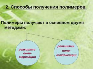 2. Способы получения полимеров. Полимеры получают в основном двумя методами: