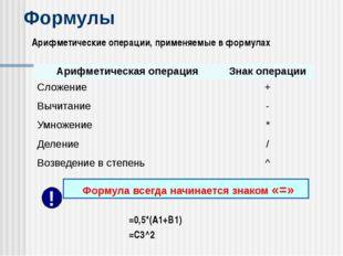 Формулы Арифметические операции, применяемые в формулах =0,5*(А1+В1) =С3^2 Фо