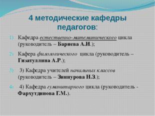 4 методические кафедры педагогов: Кафедра естественно-математического цикла (