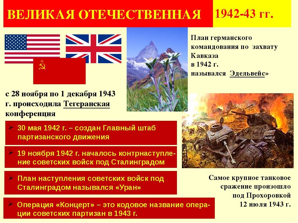 ВЕЛИКАЯ ОТЕЧЕСТВЕННАЯ 1942-43 гг. с 28 ноября по 1 декабря 1943 г.происходи...