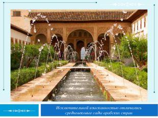 Исключительной изысканностью отличались средневековые сады арабских стран