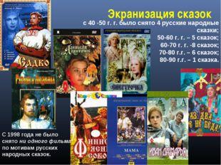 : с 40 -50 г. г. было снято 4 русские народные сказки; 50-60 г. г. – 5 сказок