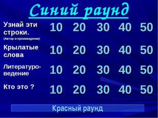 Синий раунд Красный раунд Узнай эти строки. (Автор и произведение)1020304