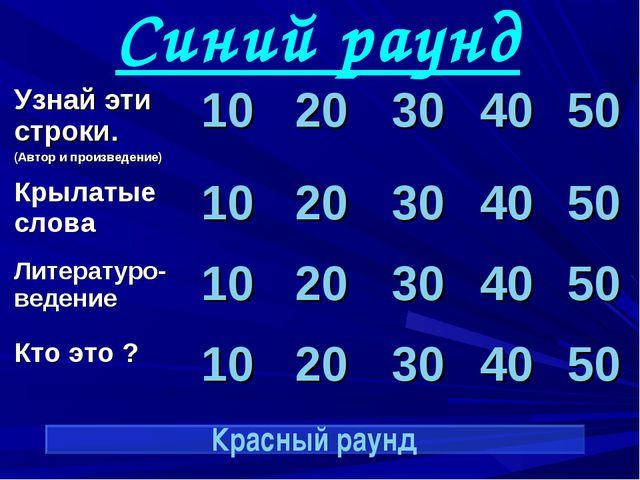 Синий раунд Красный раунд Узнай эти строки. (Автор и произведение)1020304...