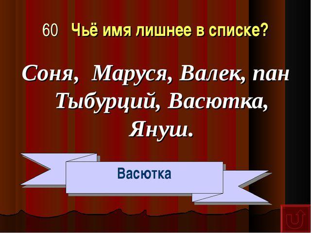 60 Чьё имя лишнее в списке? Соня, Маруся, Валек, пан Тыбурций, Васютка, Януш....