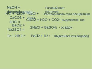 НСl + NaOH = NaCl + H2O NaOH + фенолфталеин - Розовый цвет раствора Раствор в