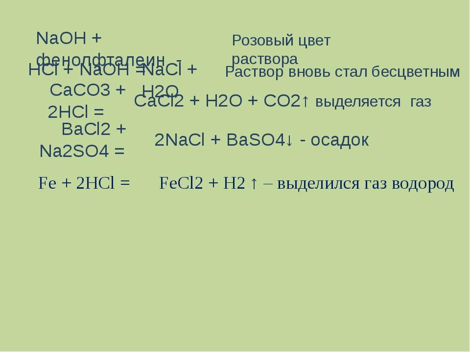 НСl + NaOH = NaCl + H2O NaOH + фенолфталеин - Розовый цвет раствора Раствор в...