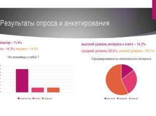 Результаты опроса и анкетирования компьютер – 71,4%, книга – 14,3%, игрушки –