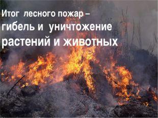 Итог лесного пожар – гибель и уничтожение растений и животных