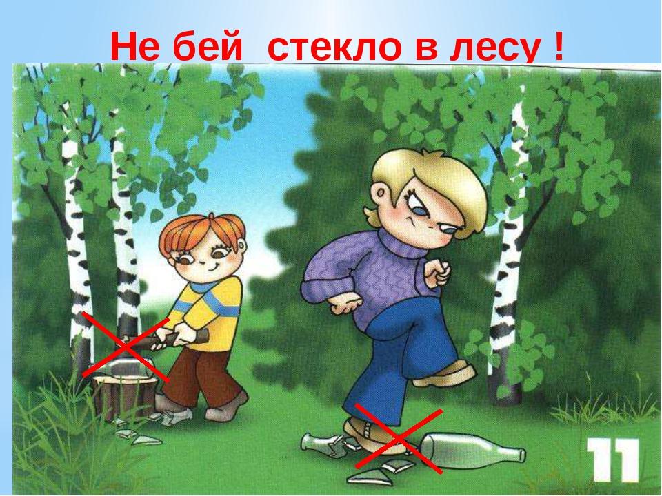 Не бей стекло в лесу ! Не бейте стекло в лесу. Нельзя стекло в лесу кидать, н...
