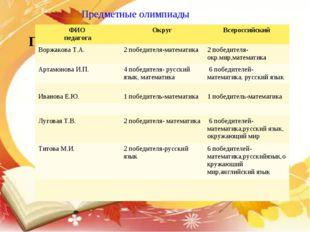 Предметные олимпиады Предметные олимпиады: ФИО педагогаОкругВсероссийский В
