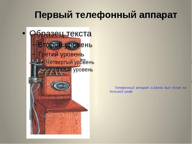 Первый телефонный аппарат Телефонный аппарат А.Белла был похож на большой шкаф