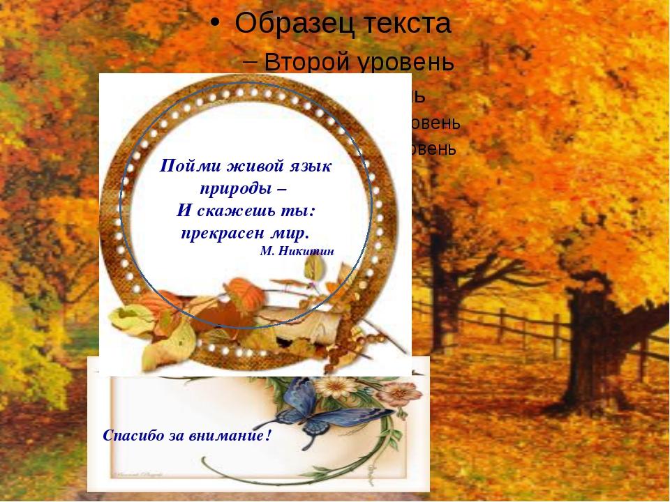 Пойми живой язык природы – И скажешь ты: прекрасен мир. М. Никитин Спасибо з...