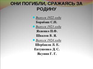 Выпуск 1922 года Барабаш С.Н. Выпуск 1923 года Яхненко П.Ф. Швалов В. Я. Вып