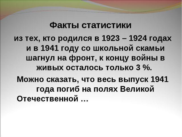 Факты статистики из тех, кто родился в 1923 – 1924 годах и в 1941 году со шко...