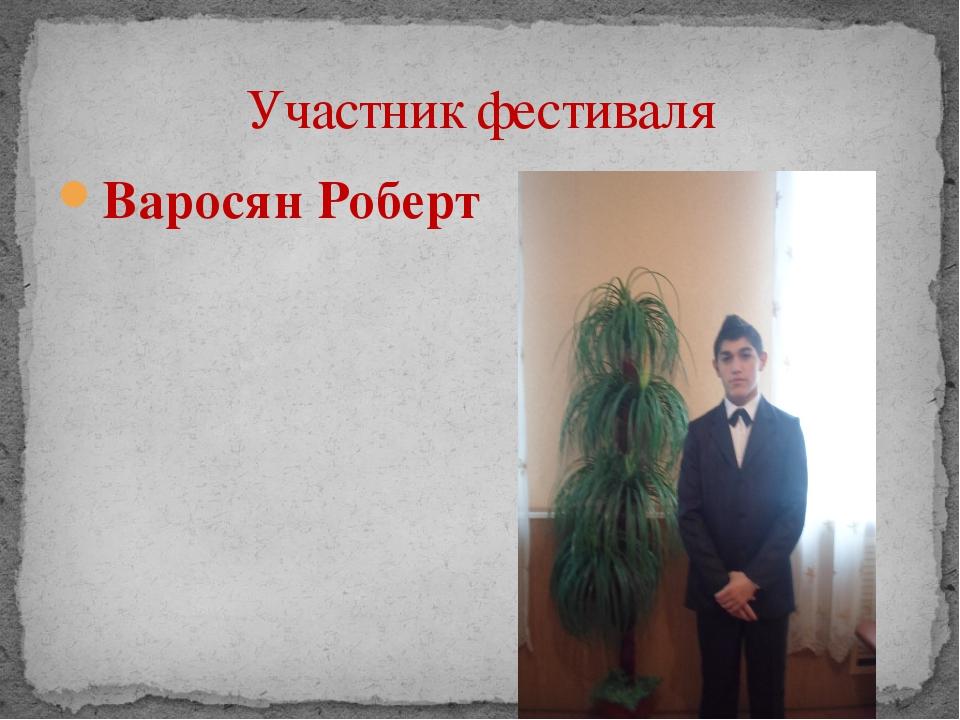 Варосян Роберт Участник фестиваля