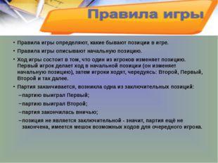 Правила игры определяют, какие бывают позиции в игре. Правила игры описывают