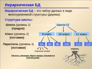 Иерархическая БД Иерархическая БД – это набор данных в виде многоуровневой с