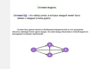 Сетевая модель Сетевая база данных является обобщением иерархической за счет