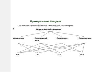 Примеры сетевой модели 1. Всемирная паутина глобальной компьютерной сети Инт