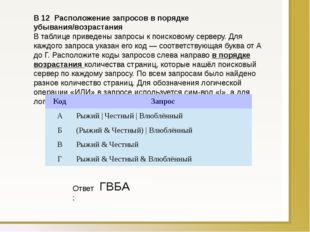 B12Расположение запросов в порядке убывания/возрастания В таблице приведен