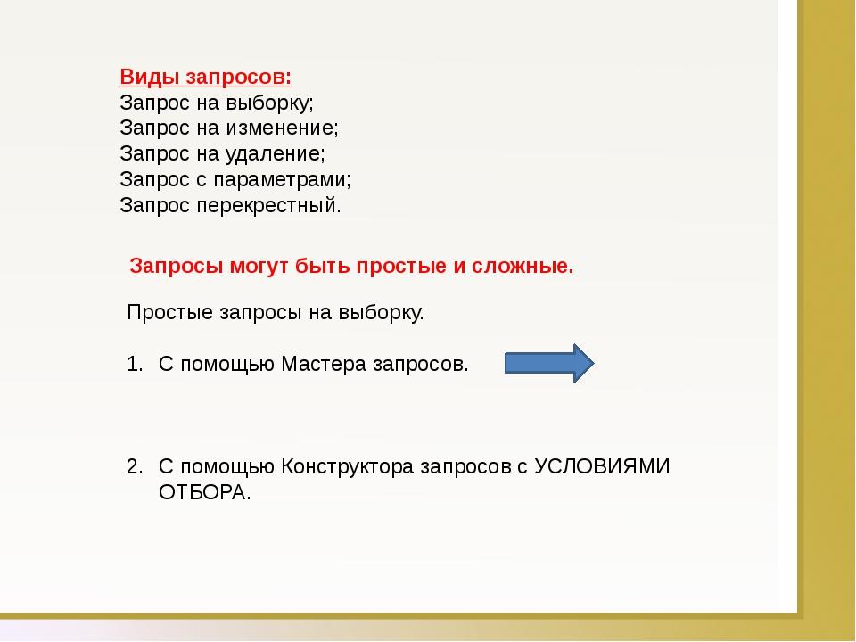 Виды запросов: Запрос на выборку; Запрос на изменение; Запрос на удаление; За...