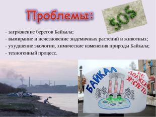 - загрязнение берегов Байкала; - вымирание и исчезновение эндемичных растений