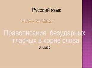 Правописание безударных гласных в корне слова 3 класс Русский язык