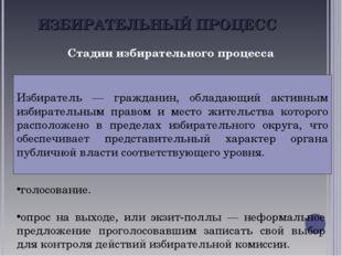 ИЗБИРАТЕЛЬНЫЙ ПРОЦЕСС Стадии избирательного процесса регистрация избирателей