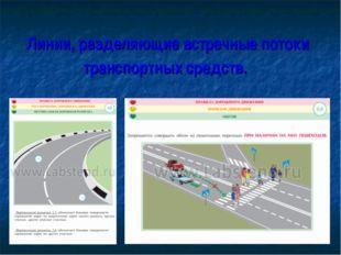 Линии, разделяющие встречные потоки транспортных средств.