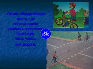 Линии, обозначающие места, где велосипедная дорожка пересекает проезжую част
