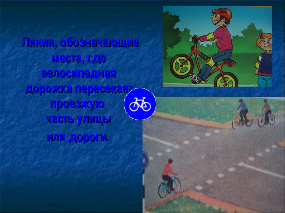 Линии, обозначающие места, где велосипедная дорожка пересекает проезжую част...