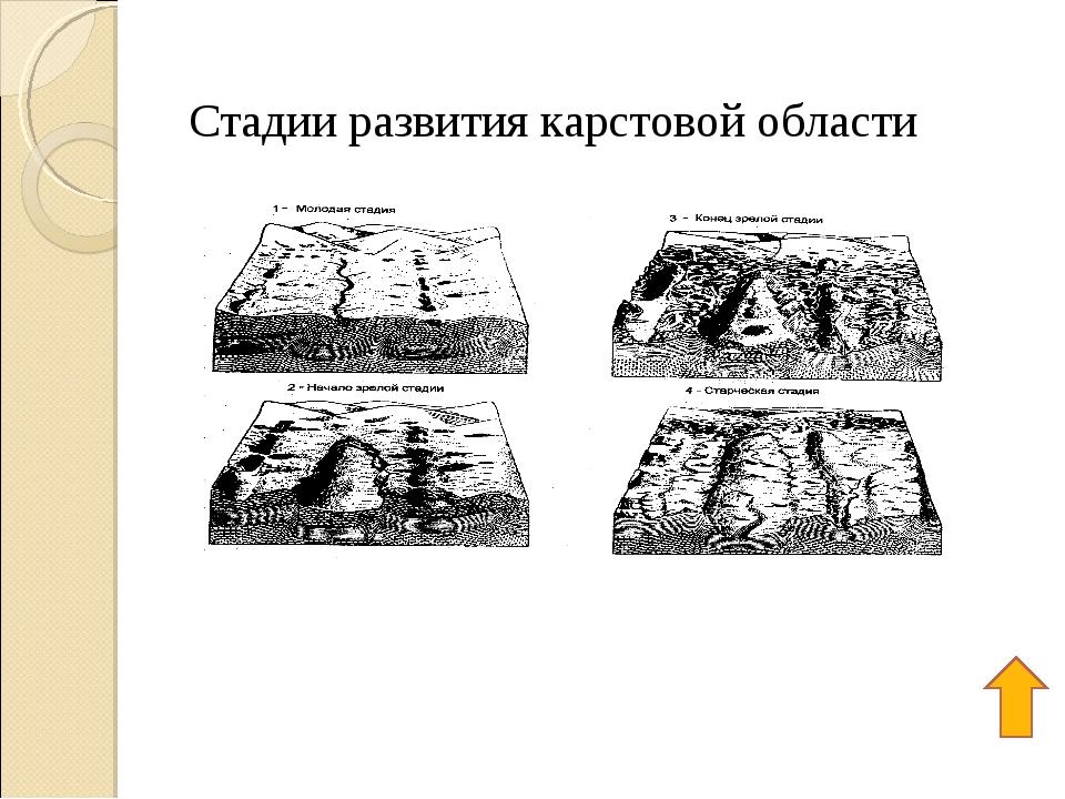 Стадии развития карстовой области