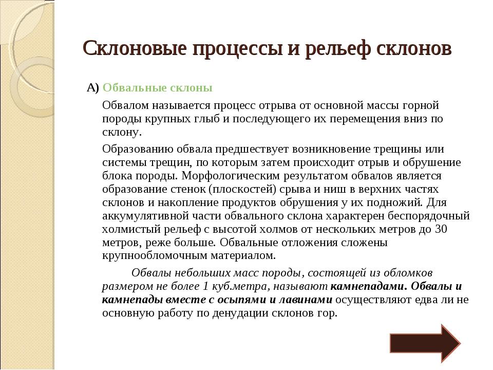 Склоновые процессы и рельеф склонов А) Обвальные склоны Обвалом называется п...