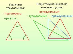 Признаки треугольника: - три стороны -три угла Виды треугольников по названию
