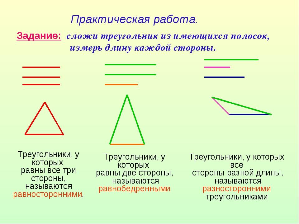 Практическая работа. Задание: сложи треугольник из имеющихся полосок, измерь...