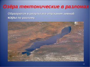 Озёра тектонические в разломах Образуются в результате опускания земной коры