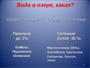 Вода в озере, какая? Пресные до 1‰ Соленые более 35 ‰ Байкал, Ладожское, Онеж