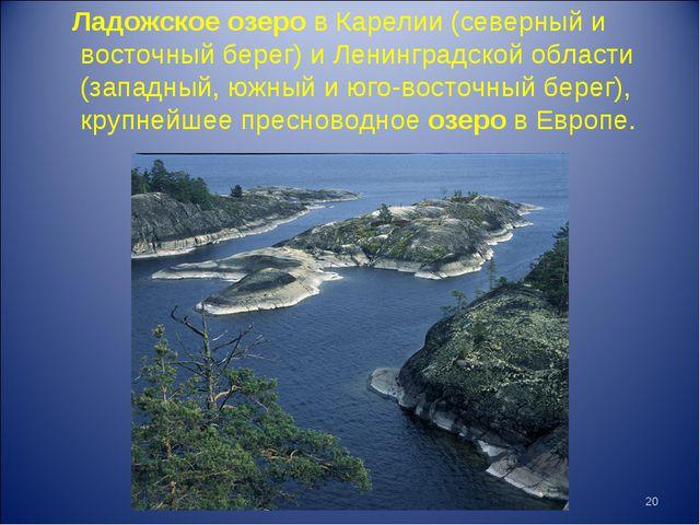 Ладожское озеро в Карелии (северный и восточный берег) и Ленинградской област...