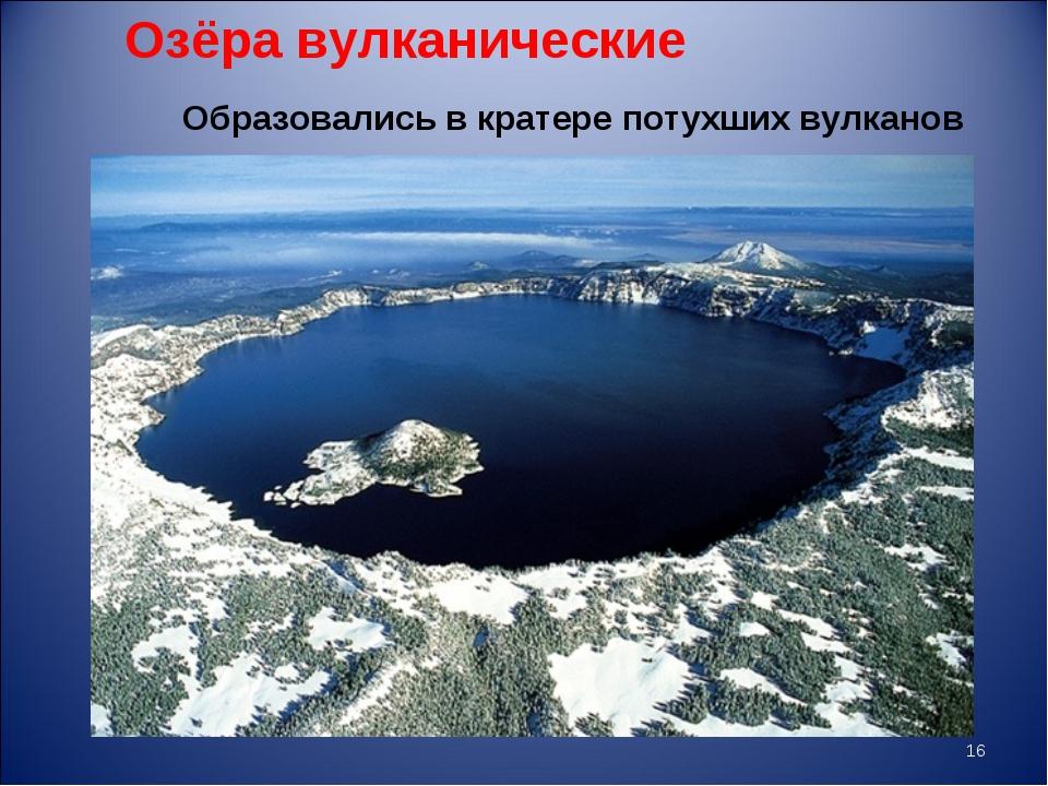 Озёра вулканические * Образовались в кратере потухших вулканов