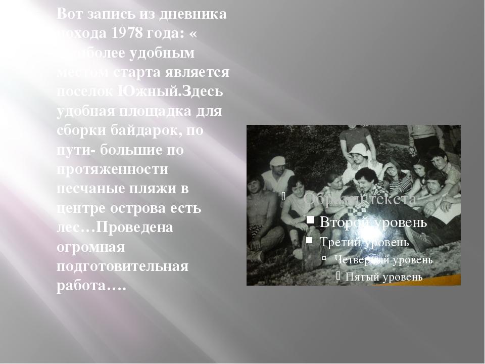 Вот запись из дневника похода 1978 года: « Наиболее удобным местом старта яв...