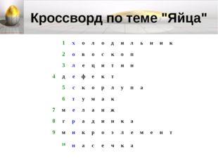 """Кроссворд по теме """"Яйца"""""""