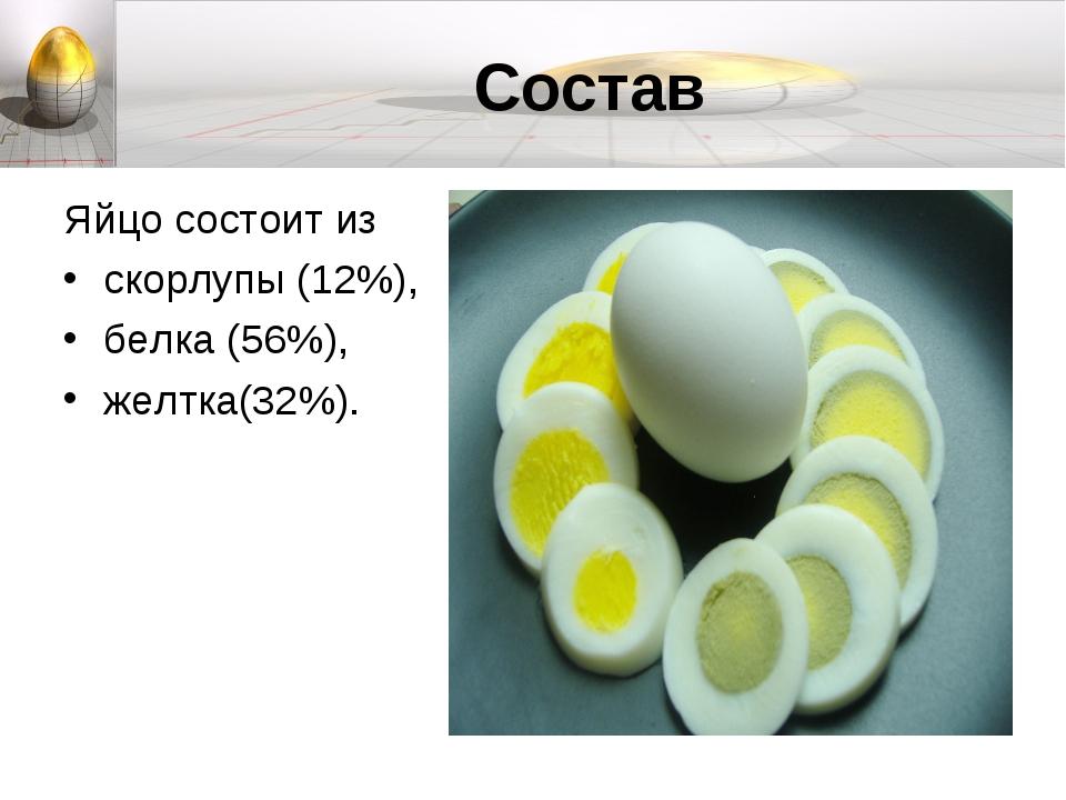 Состав Яйцо состоит из скорлупы (12%), белка (56%), желтка(32%).